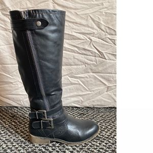 Rockport Christy 7.5 Tall Leather Black Boots